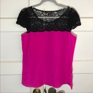 Express black lace and pink sheer top